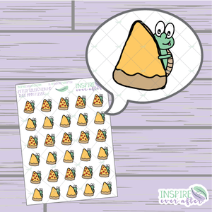 Theo the Turtle MMM Pizza ~ Hand Drawn Petite Collection ~ Planner Stickers
