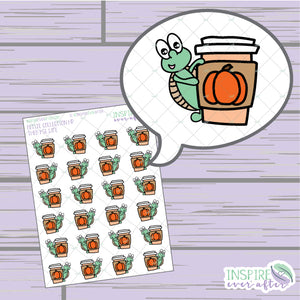 Theo the Turtle Pumpkin Spice Latte Life ~ Hand Drawn Character Beverage Icons ~ Petite Collection ~ Planner Stickers