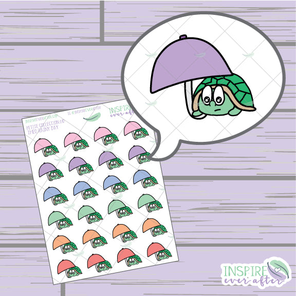 Theo the Turtle Rainy Day ~ Hand Drawn Petite Collection ~ Planner Stickers