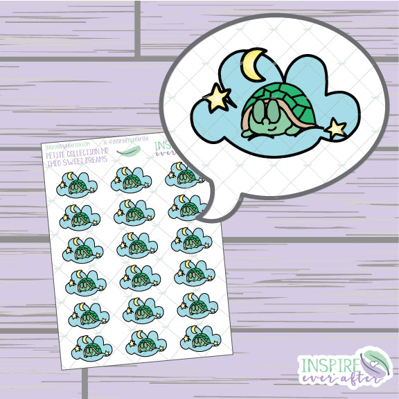 Theo the Turtle Sweet Dreams ~ Hand Drawn Petite Collection ~ Planner Stickers