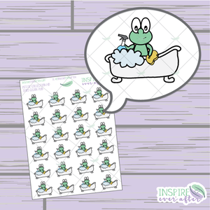 Theo the Turtle Clean Tub ~ Hand Drawn Cleaning Icon ~ Petite Collection ~ Planner Stickers