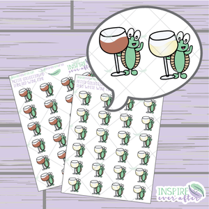 Theo the Turtle Wine Love ~ Red OR White Wine ~ Hand Drawn Petite Collection ~ Planner Stickers