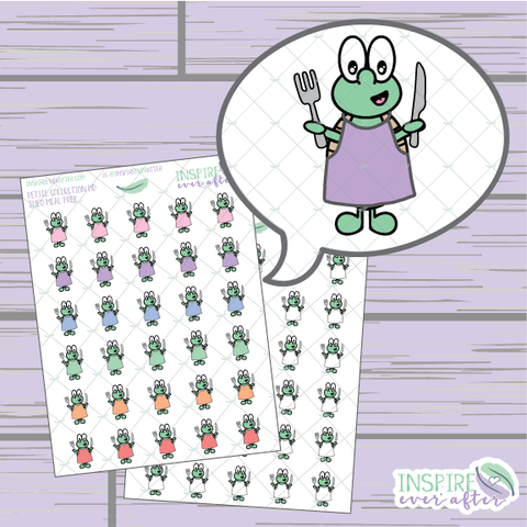 Theo the Turtle Meal Prep ~ Colorful OR Neutral ~ Hand Drawn Petite Collection ~ Planner Stickers