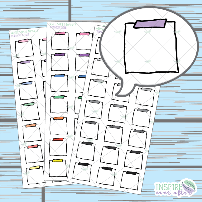 Top Washi Note Doodle ~ Pastel, Bright OR Neutral ~ Hand Drawn Hobonichi Functionals ~ Planner Stickers