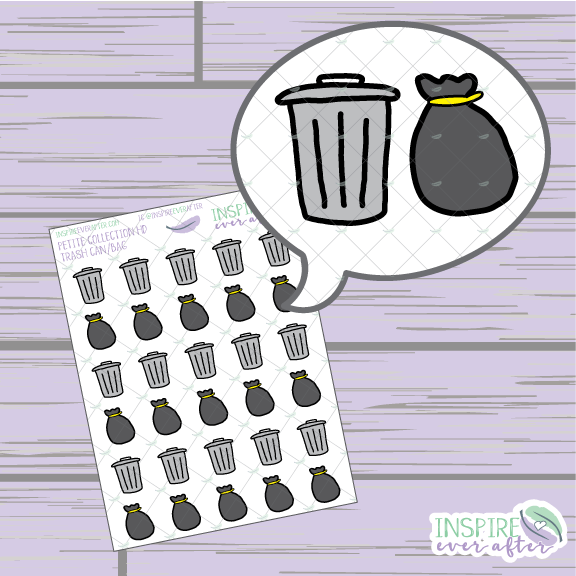 Trash Can/Bag Icon ~ Hand Drawn Petite Collection ~ Planner Stickers