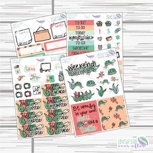 Turtle Reef Mini Weekly Kit ~ Hand Drawn Planner Stickers
