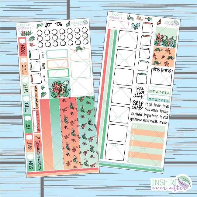 Turtle Reef Hobonichi Weekly Kit ~ Hand Drawn Planner Stickers