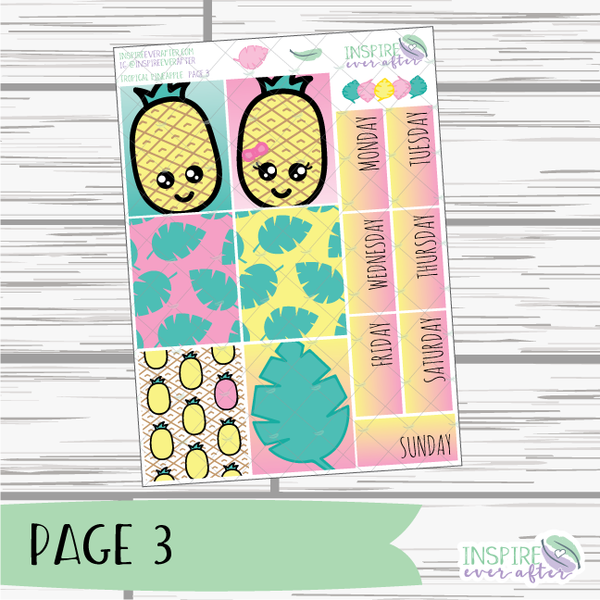 Tropical Pineapple Hand Drawn Slim Weekly Kit ~ Planner Stickers
