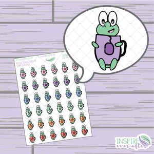 Theo the Turtle Tea Love ~ Hand Drawn Petite Collection ~ Planner Stickers
