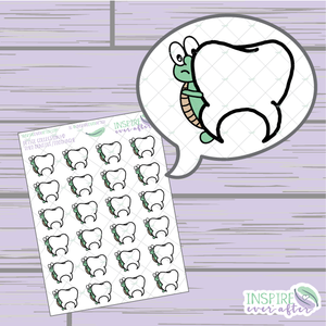 Theo the Turtle Dentist/ Toothache Icon ~ Hand Drawn Petite Collection ~ Planner Stickers