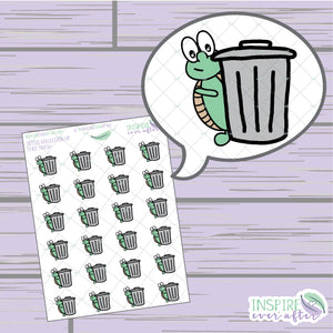 Theo the Turtle Trash Icon ~ Hand Drawn Petite Collection ~ Planner Stickers