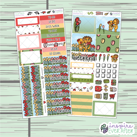 Tulip Fields PPWeeks Weekly Kit ~ Hand Drawn Spring Functional Planner Stickers