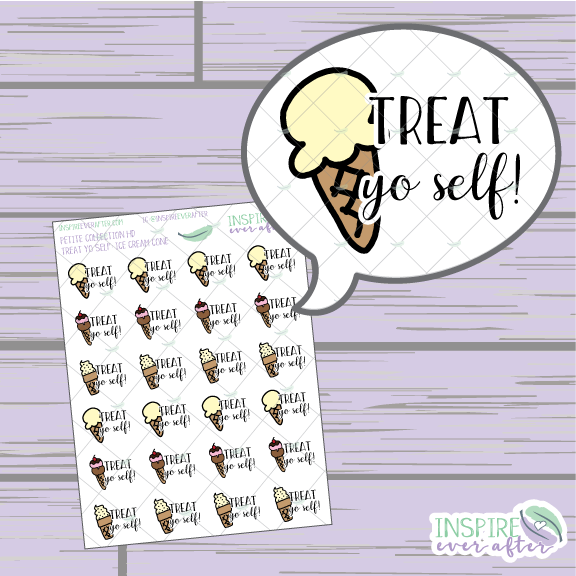 Treat Yo Self: Ice Cream Cone Edition ~ Hand Drawn Treat Yo Self Series ~ Petite Collection ~ Planner Stickers