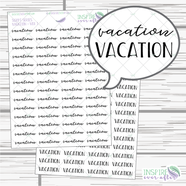 Vacation ~ Script OR Print ~ Script Series ~ Planner Stickers