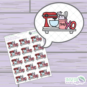 Valentine Baking Shelf ~ Hand Drawn Food Icon ~ Petite Collection ~ Planner Stickers