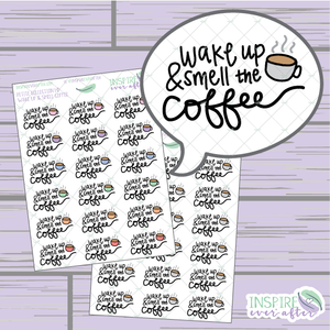 Wake Up & Smell the Coffee ~ Colorful OR Neutral ~ Hand Drawn Petite Collection ~ Planner Stickers
