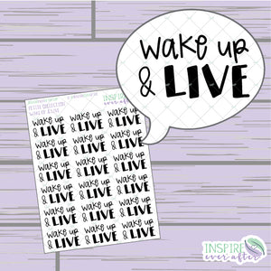 Wake Up & Live ~ Hand Lettered Petite Collection Positive Affirmation ~ Planner Stickers