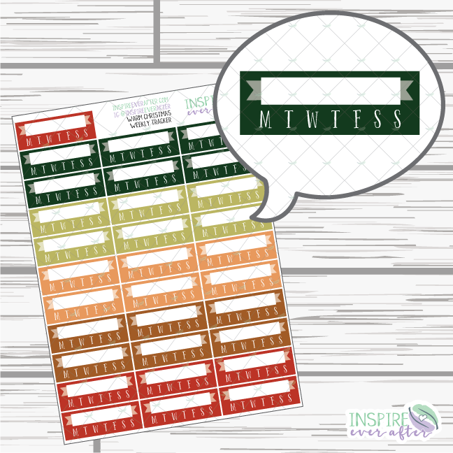 Warm Christmas Weekly Habit Tracker Boxes ~ Holiday Functional Planner Stickers