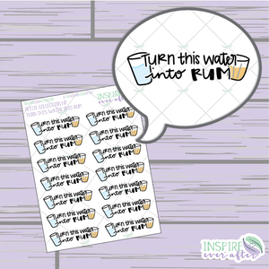 Turn This Water Into Rum ~ Magical Hand Drawn Petite Collection ~ Planner Stickers
