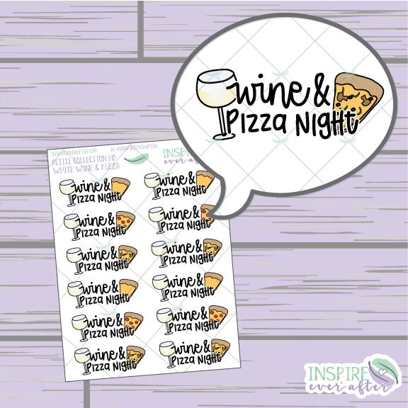 White Wine & Pizza Night ~ Hand Drawn Petite Collection ~ Planner Stickers