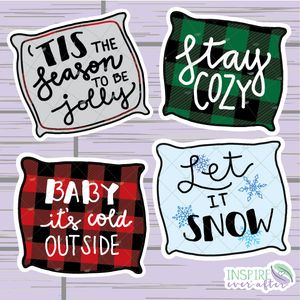 Winter Quote Pillow Die Cut ~ Hand Drawn Planner Accessories