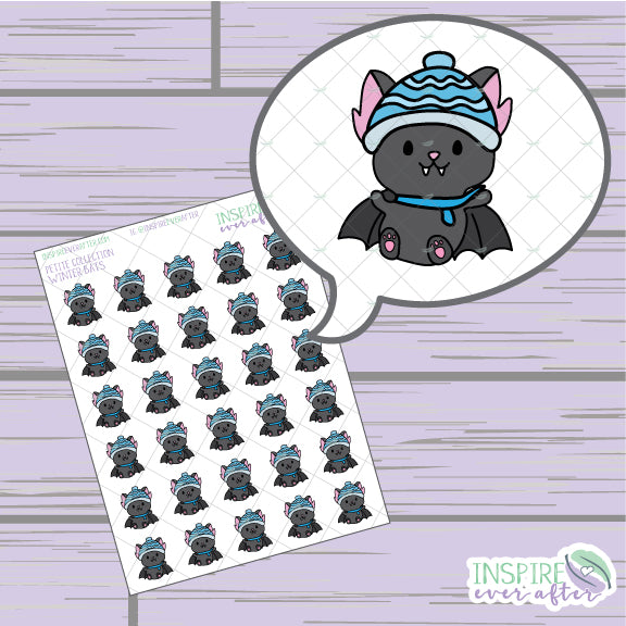 Winter Bats ~ Hand Drawn Animal Icons ~ Petite Collection ~ Planner Stickers