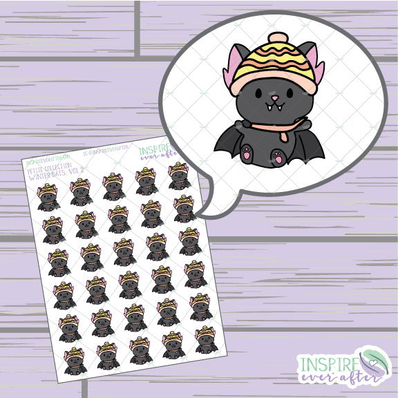 Winter Bats, Vol. 2 ~ Hand Drawn Animal Icons ~ Petite Collection ~ Planner Stickers