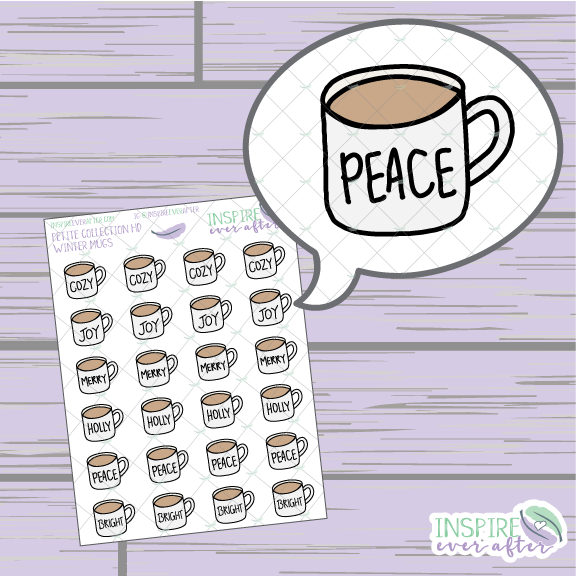 Winter Quote Coffee/ Tea Mugs ~ Hand Drawn Petite Collection ~ Planner Stickers