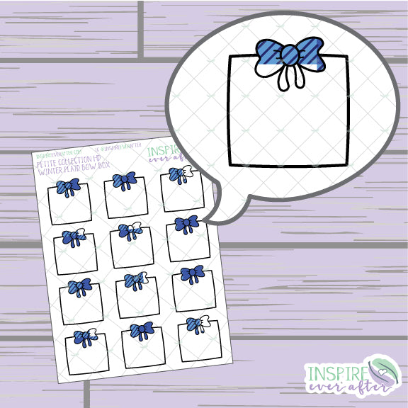 Winter Plaid Bow Box ~ Hand Drawn Functional Petite Collection ~ Planner Stickers