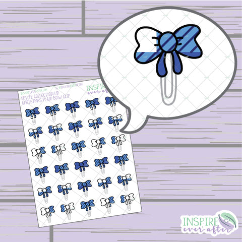 Winter Plaid Bow Clip ~ Hand Drawn Functional Petite Collection ~ Planner Stickers