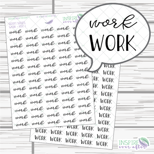 Work ~ Script OR Print ~ Script Series ~ Planner Stickers