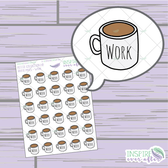 Work Coffee/Tea Mugs ~ Hand Drawn Petite Collection ~ Planner Stickers
