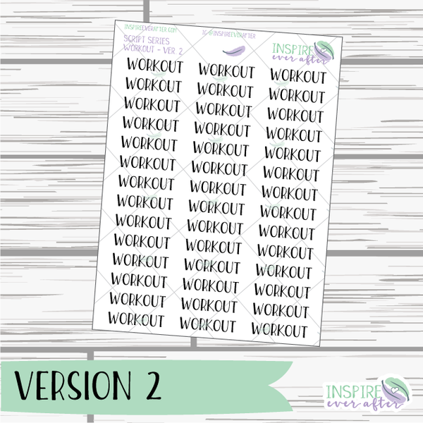 Workout ~ Script OR Print ~ Script Series ~ Planner Stickers