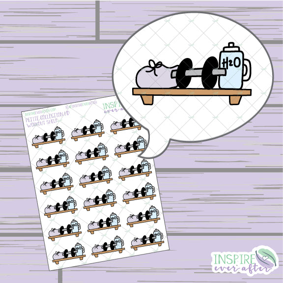 Workout Shelf ~ Hand Drawn Petite Collection ~ Planner Stickers