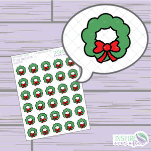 Wreath ~ Hand Drawn Christmas Deco ~ Petite Collection ~ Planner Stickers
