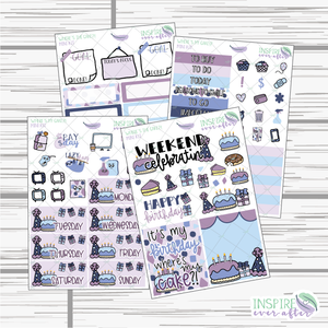 Where's My Cake?! Mini Weekly Kit ~ Hand Drawn Planner Stickers