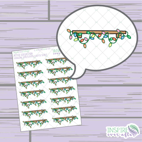 Holiday Lights Shelf ~ Hand Drawn Holiday Decor ~ Petite Collection ~ Planner Stickers