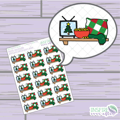 Christmas Movie Night Shelf ~ Hand Drawn Holiday Deco ~ Petite Collection ~ Planner Stickers