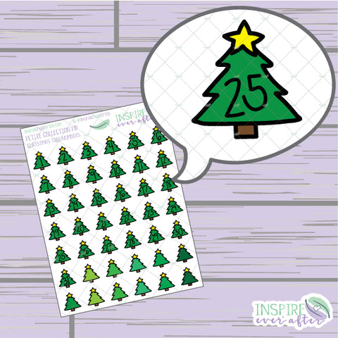 Christmas Tree Numbers/ Date Covers/ Countdown ~ Hand Drawn Winter Petite Collection ~ Planner Stickers