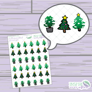 Christmas Trees ~ Hand Drawn Petite Collection ~ Planner Stickers