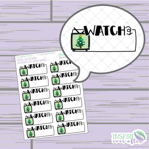 Christmas Movie Watch Box ~ Hand Drawn Christmas Decor ~ Petite Collection ~ Planner Stickers
