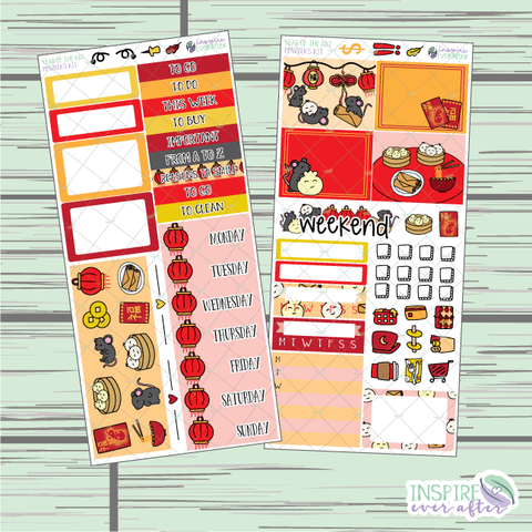 Year of the Rat PPWeeks Weekly Kit ~ Hand Drawn Holiday Lunar New Year ~ Functional Planner Stickers
