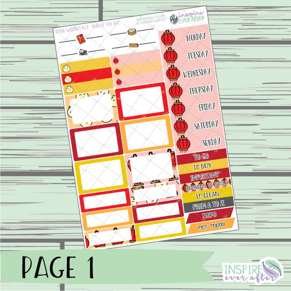 Year of the Rat PPB6 Weekly Kit ~ Hand Drawn Functional Planner Stickers