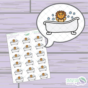 Zion the Lion Bath Time Icon ~ Hand Drawn Petite Collection ~ Planner Stickers