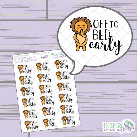 Zion the Lion Off the Bed Early ~ Hand Drawn Petite Collection ~ Planner Stickers