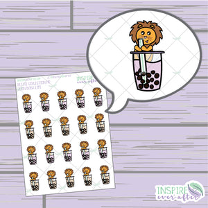Zion the Lion Boba Life ~ Hand Drawn Petite Collection ~ Planner Stickers