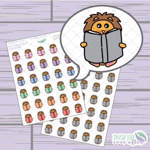 Zion the Lion Reading Book Icon ~ Colorful OR Neutral ~ Hand Drawn Petite Collection ~ Planner Stickers