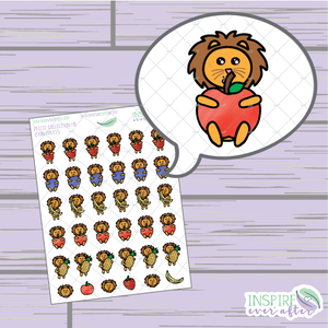 Zion the Lion Fruit ~ Hand Drawn Petite Collection ~ Planner Stickers