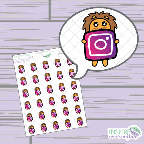 Zion the Lion Insta Icon ~ Hand Drawn Petite Collection ~ Planner Stickers