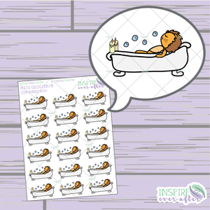 Zion the Lion Bath ~ Hand Drawn ~ Planner Stickers